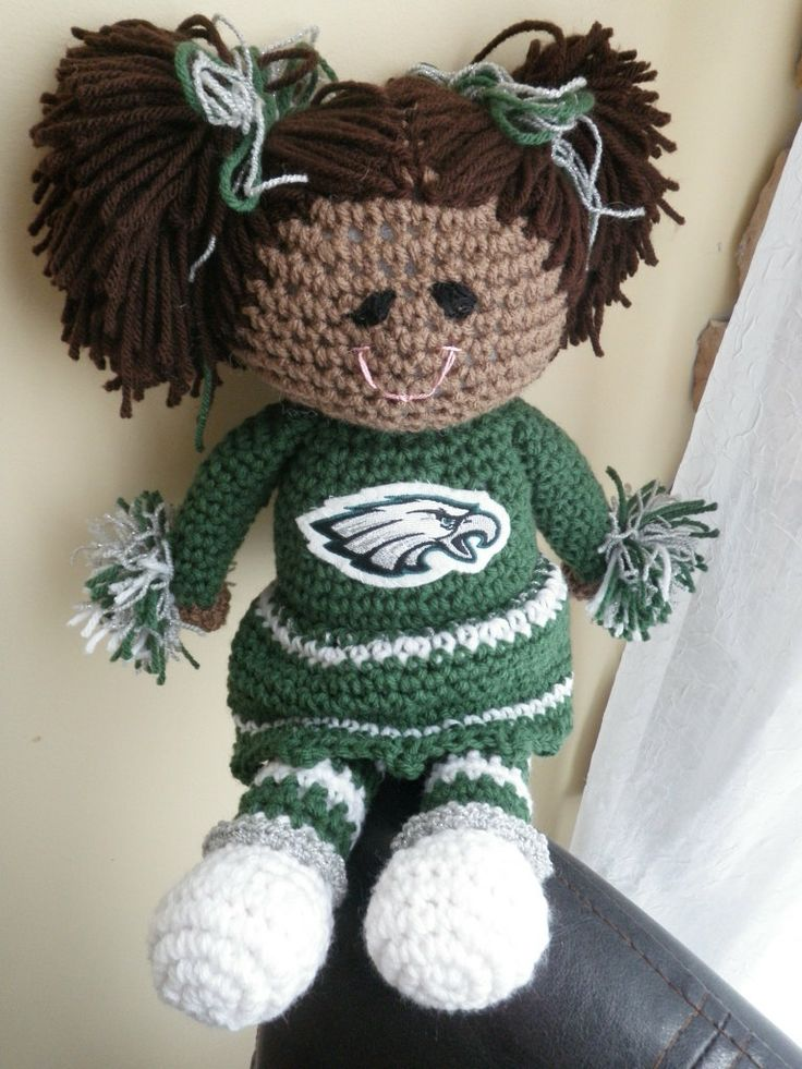 Philadelphia Eagles Cheerleader Doll by OlsenTrademarkCrafts, $28.00