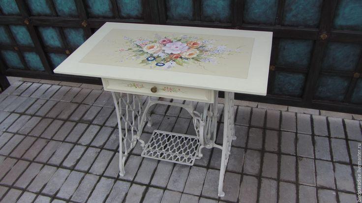 Купить Стол расписной на чугунной станине. Мебель из дерева под старину. - Мебель, антикварная мебель