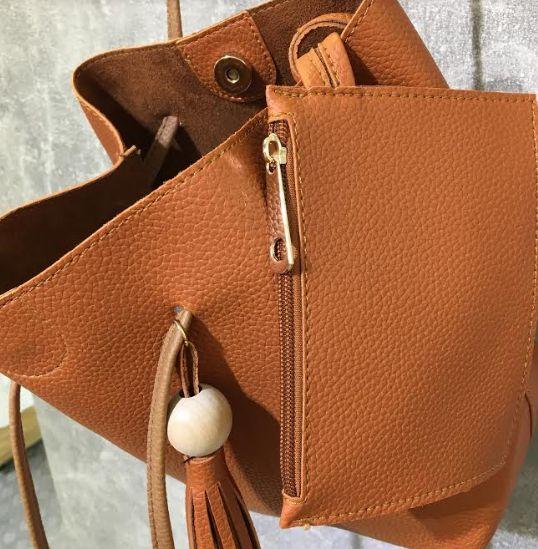 PinkCad29 Small Tan Leather Look Tassel Handle Bucket Bag