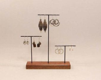 Jewelry Display Holder Wood Earring Stand by RobinsonMerchCompany