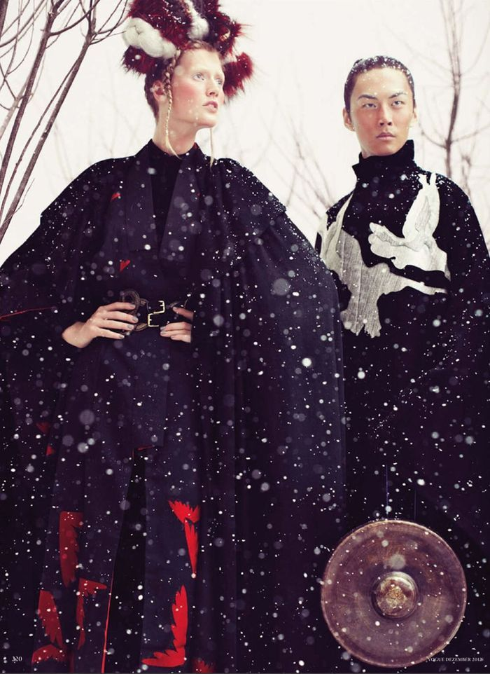 """Toni Garrn and David Chiang in """"So Fern, So Nah"""" by Alexi Lubomirski for Vogue Germany December 2012"""