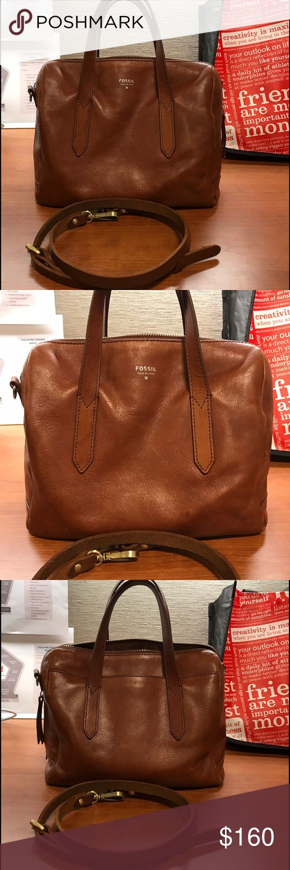 Fossil Sydney satchel crossbody in camel brown There's wear on the bottom corners of the bag and top corner near left side of zipper. Makeup powder on one zipper bag otherwise no tears. No rips. The covertible strap is a replacement to original fossil, non name brand leather strap. Fossil Bags Satchels