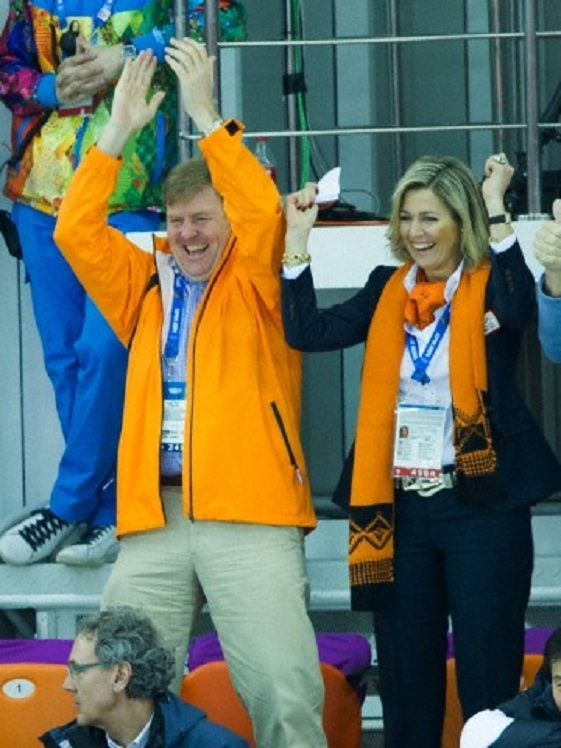 King Willem-Alexander of the Netherlands and Queen Maxima attend the Men's Speed Skating 5000m at the Adler Arena during the 2014 Sochi Winter Olympics on 08.02. 2014.