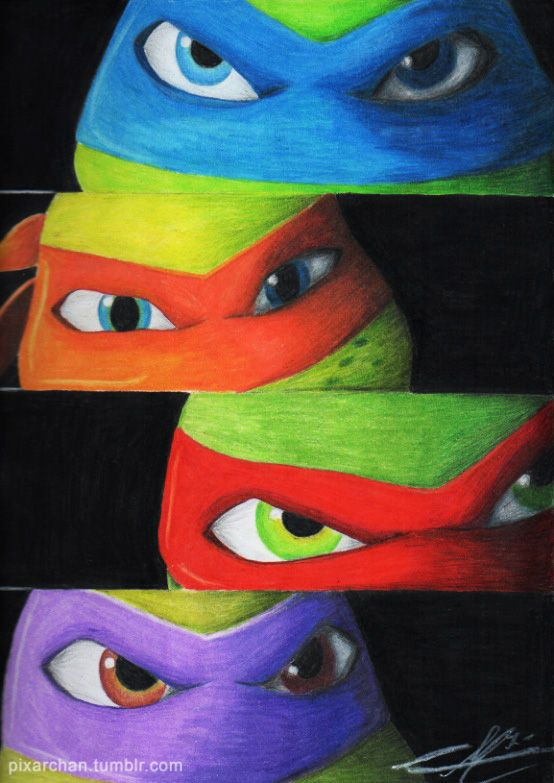 "With these turtles I learned how to be as brave as Leonardo, how to be as strong as Raphael how to be as smart as Donatello and how to be as funny as Michelangelo, so that's why I made this draw to commemorate these amazing turtles whose we know 'em as Teenage Mutant Ninja Turtles ""TMNT"""
