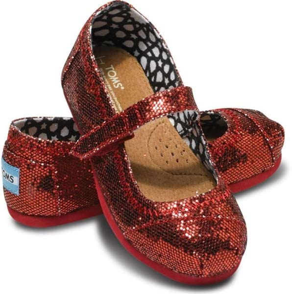TOMS Kid's Tiny Red Glitters Mary Jane Shoe. Oh my goodness I wish I had a girl