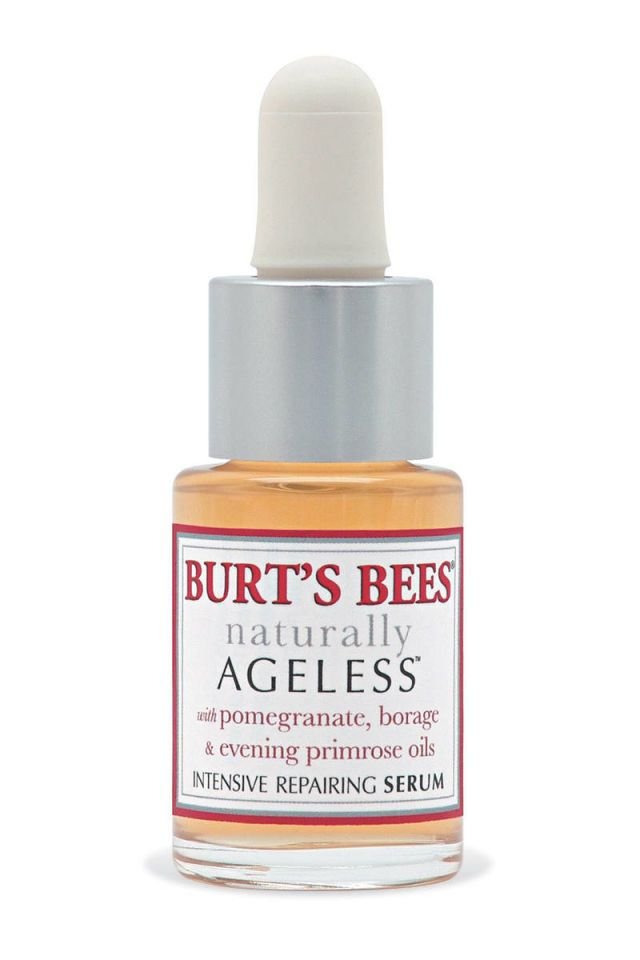 """""""I have pretty sensitive skin, and I'll use this at night and it doesn't react at all. You could also use it over makeup, dabbed around the eyes or anywhere you have fine lines that need a bit of softening."""" Burt's Bees Naturally Ageless Intensive Repairing Serum, $25, burtsbees.com.   - HarpersBAZAAR.com"""