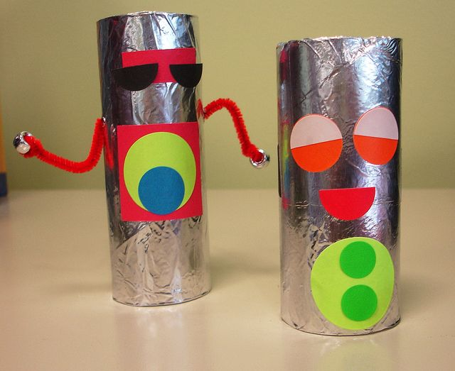 """This cute robot craft is from Clermont Library and all it needs is toilet paper rolls, aluminum foil,and stickers. Be sure to read a few of the following for a perfect story time before crafting: """"Boy + Bot"""" by Ame Dyckman, """"Robot Zot"""" by Jon Scieszka, """"Robots Everywhere"""" by Denny Hebson and """"If I were a Robot"""" by Scott Gordon."""