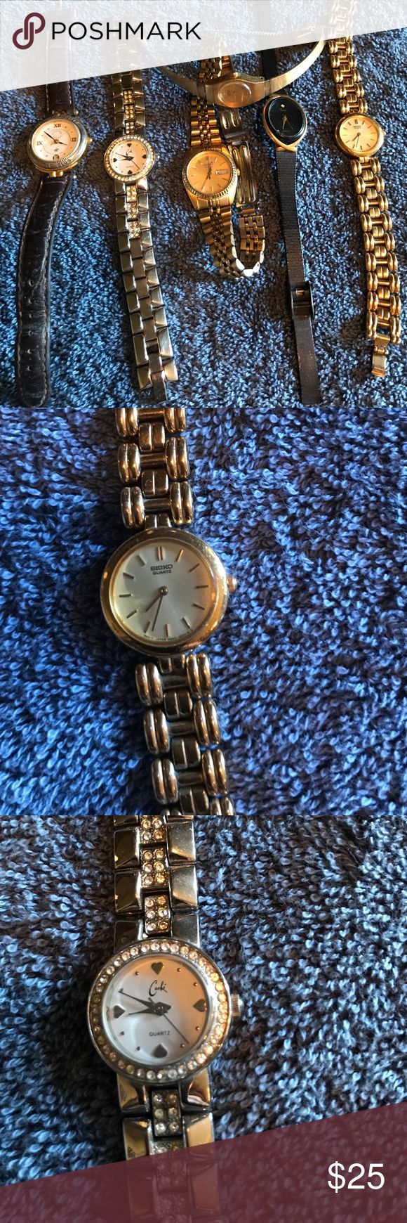 Watches Dress Watches. 1 Quartz Silver watch. 1 Polo Club needs new band. 1 Seiko Gold. 1 Black Name bar and too small for me to read. As with last 2 Gold watches. All need new batteries. $5/ea. Or $25 for all. Seiko Accessories Watches
