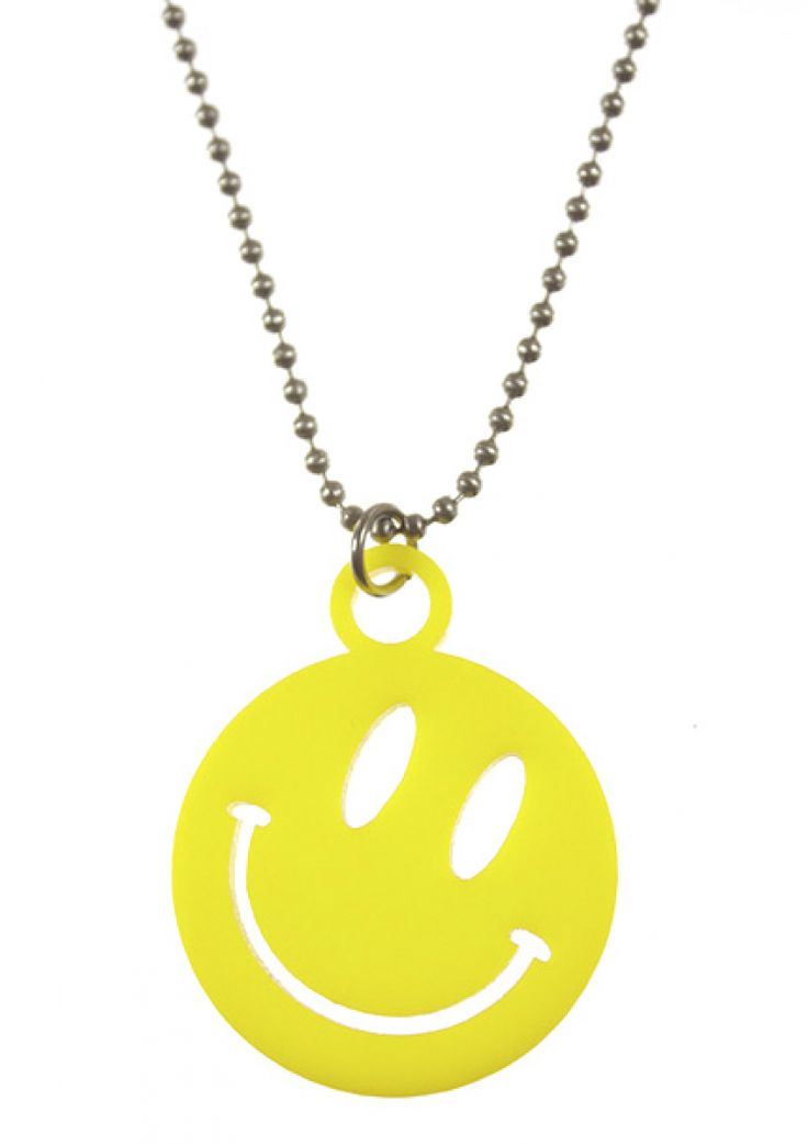 """Wear this happy necklace and you'll notice that a smile is the shortest distance between two people! Seriously. Laser cut acrylic on 24"""" stainless steel chain."""