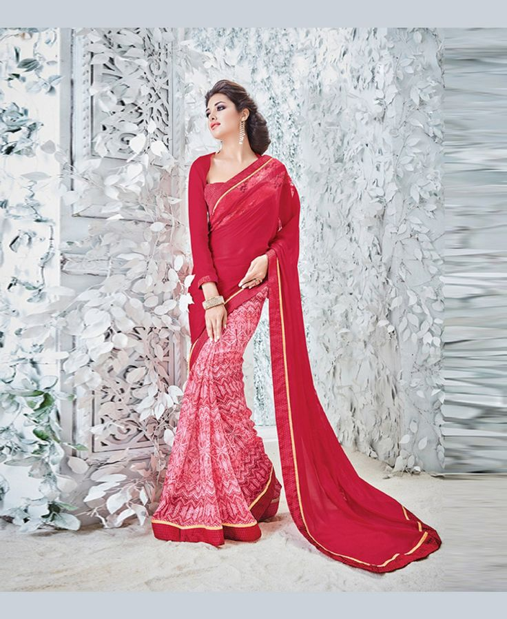 Red Georgette Printed Saree With Blouse 78914