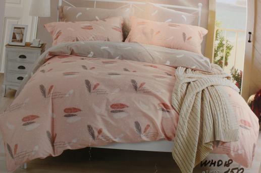 Ткань для постельного белья, перышки на сером (компаньон)