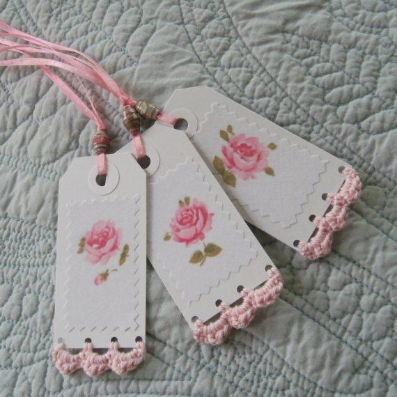 Paper tags with crochet edging...I'm thinking pillowcase edging for those who haven't mastered yarn. Cut and Paste to card stock.