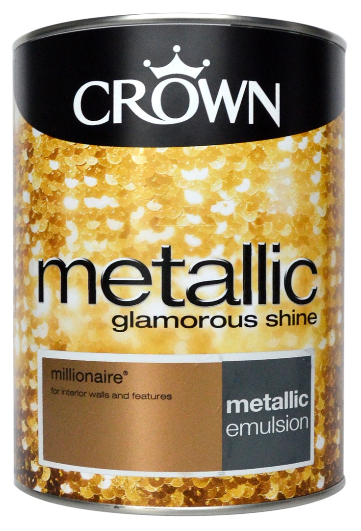 Crown metallic gold paint in millionaire our products for Gold wall paint uk