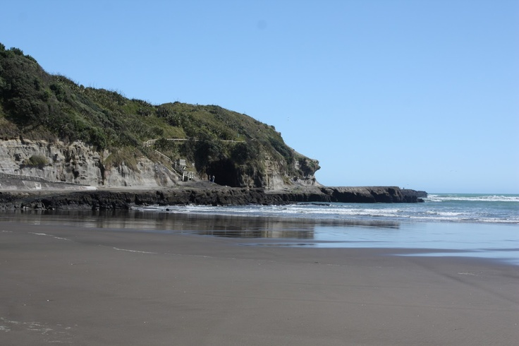 Muriwai Beach - New Zealand  Black sand, blow holes... Beauty...  Brings back memories...
