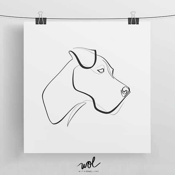 Great Dane Line Art, Great Dane Print, Single Line Drawing, Great Dane Gift, Black and White Minimal Dog Art, One Line Wall Art – Nina