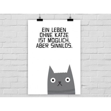 """A3 Druck """"Leben ohne Katze""""                                                                                                                                                      Mehr"""