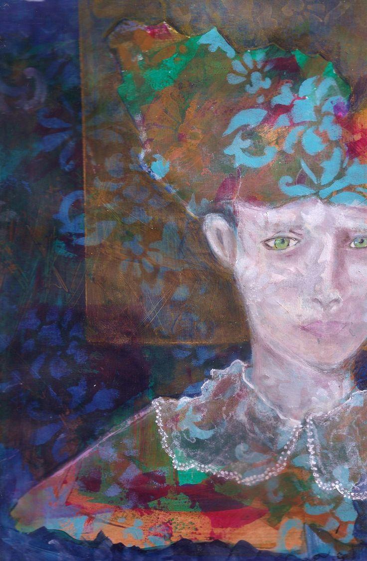 Mujer con tocado Acrílico y óleo s/papel