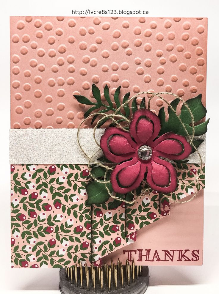 Linda Vich Creates: March Stamping Class Projects. A flower cluster, created with the Botanical Builder Framelits Dies, graces the front of this Skirt Fold card.