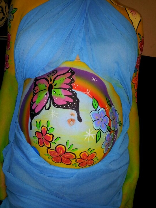 My pregnant belly painting see more at www for Maternity belly painting