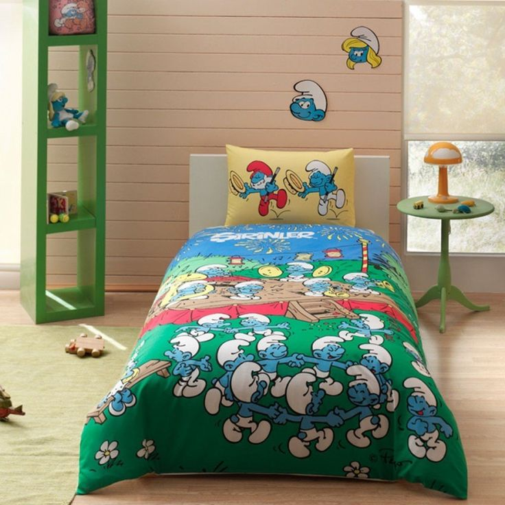 The Smurfs Music 3 Pcs Twin / Single Size %100 Cotton Duvet Cover Set Bedding Linens //Price: $41.27 & FREE Shipping //     #bedding