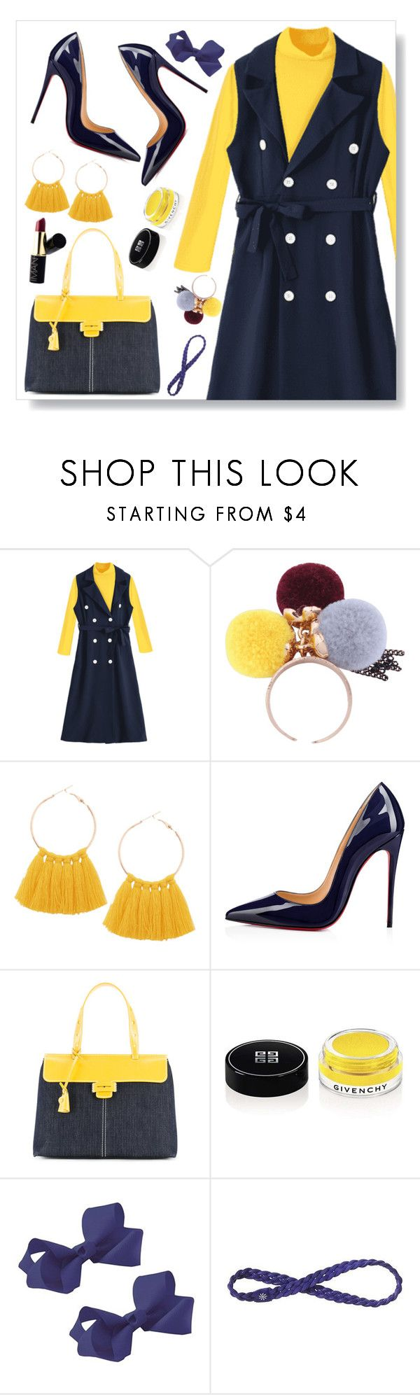 """Blue and yellow"" by simona-altobelli ❤ liked on Polyvore featuring Christian Louboutin, Myriam Schaefer, Givenchy and Athleta"