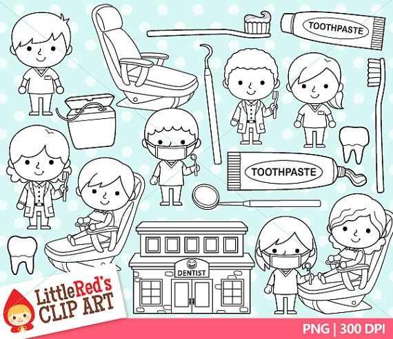 Dentist Clipart and Lineart personal and commercial use
