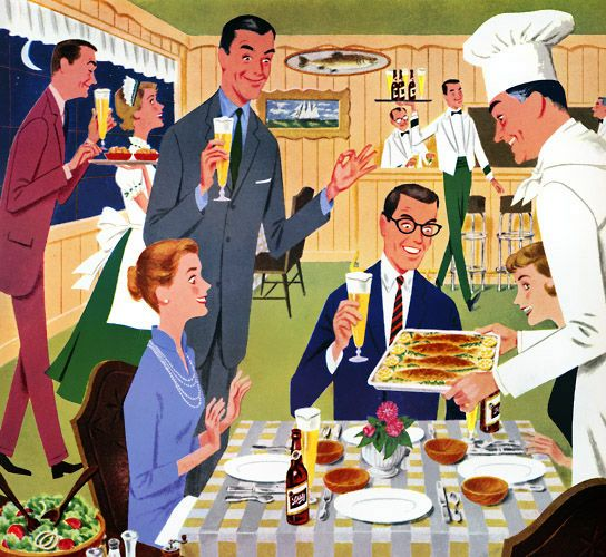 The Friday Night Fish Fry (Schlitz Fry here as it is advertising Schlitz beer) Plan59 :: Vintage Ads :: Friday Night Schlitzfry, 1958