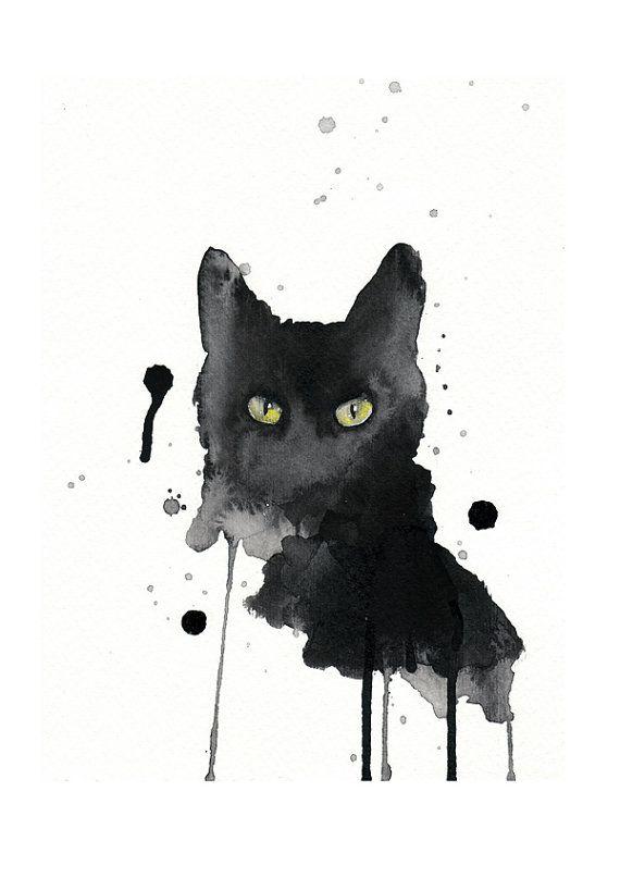 Black cat watercolor painting print A4