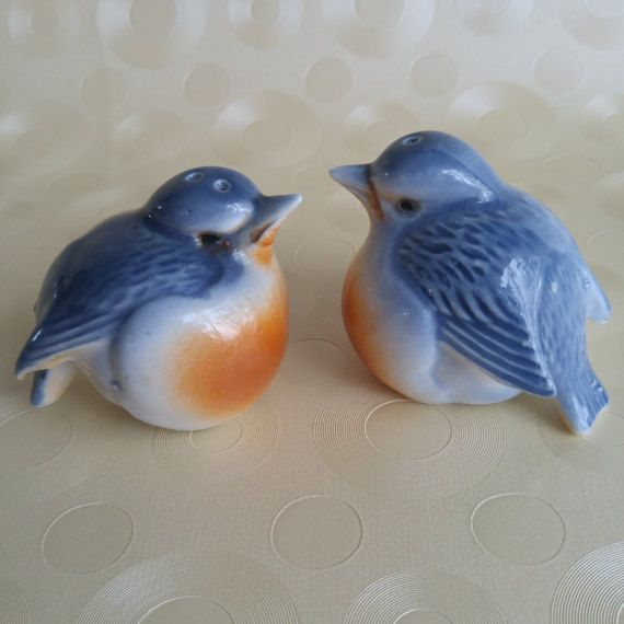 Vintage Salt and Pepper Shakers  Nuthatch Bird Salt and