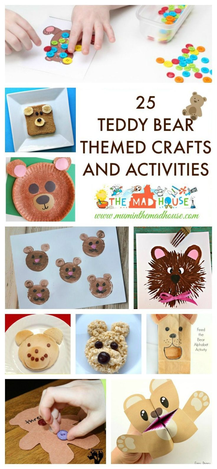 25 Teddy Bear Themed Crafts and Activities - Celebrate National Teddy Bear Day,  Celebrate National Teddy Bear Day with this roundup of teddy bear activities, crafts and foods ideas to suit toddlers, preschoolers and school aged kids