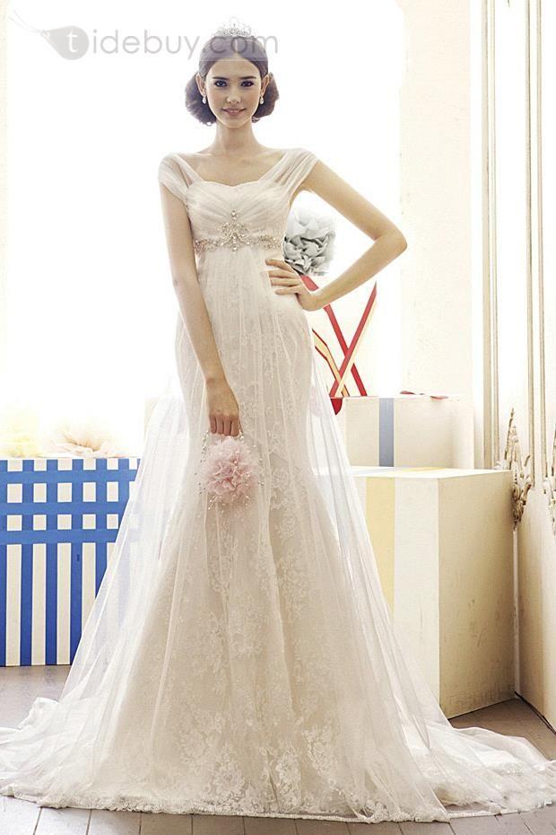 Gorgeous Capped Mermaid Empire Beads Chapel Train Lace Wedding Dress : Tidebuy.com