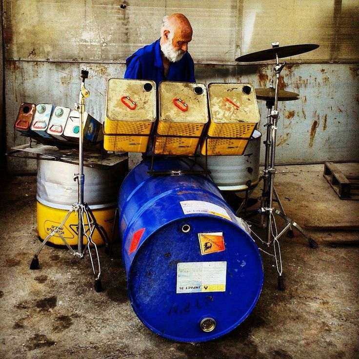 You can't stop folks from makin' music. A musician needs it and can see it in EVERYTHING! Cool Drums.