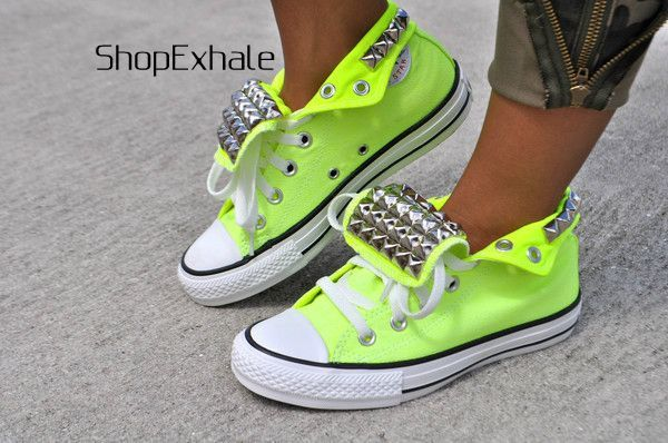 Neon converse - If these were low and only with spikes on the tongue both them and I would be at Foam N Glow next year.