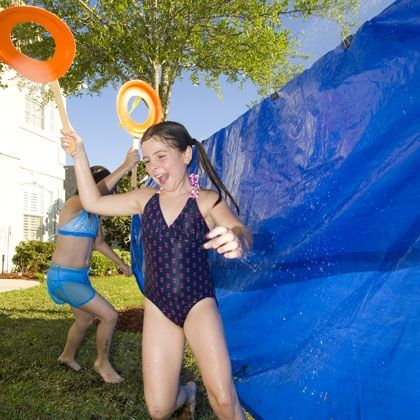 Bulls-Eye Blast This scorcher-squelcher morphs two carnival favorites, the dunk tank and target shooting into an action-packed group game. Moving fast is the key to victory, but all players are bound to get wet. And that's the real winning element!