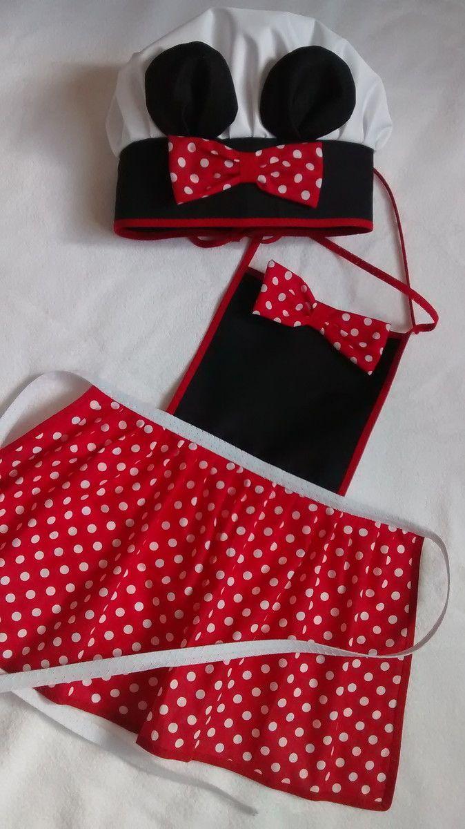 Kit avental e chapéu de cozinheiro da Minnie  de tecido de algodão ,é resistente  valor acima para as duas peças,  vendemos as peças separadas entre em contato para saber os valores .    medidas do avental;  P 35 larg x 50 comp  M 40 larg x 55 comp  G 46 larg x 63 comp
