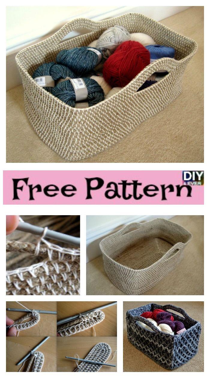 Useful Crochet Rectangle Basket Free Pattern Crochet Knit