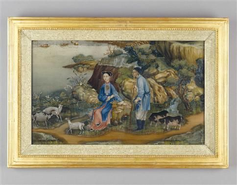 An 18th century Chinese mirror painting of small scale, depicting a pair of Chinese figures with their domestic animals in an exotic landscape.