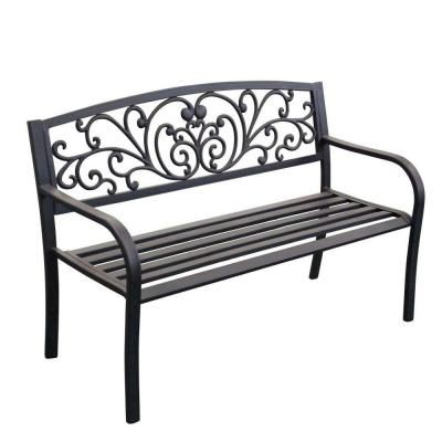 Scroll Curved Back Steel Park Bench