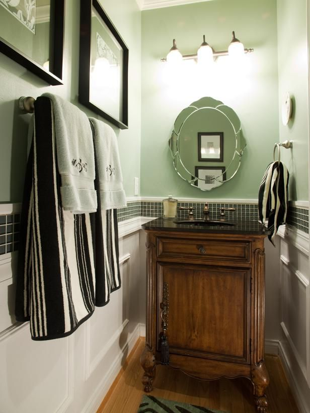 Try a more decorative mirror in this space.