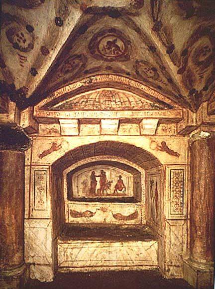 Arcosolium in Cubiculum Via Latina Catacomb c320 EARLY CHRISTIAN CATACOMB ART
