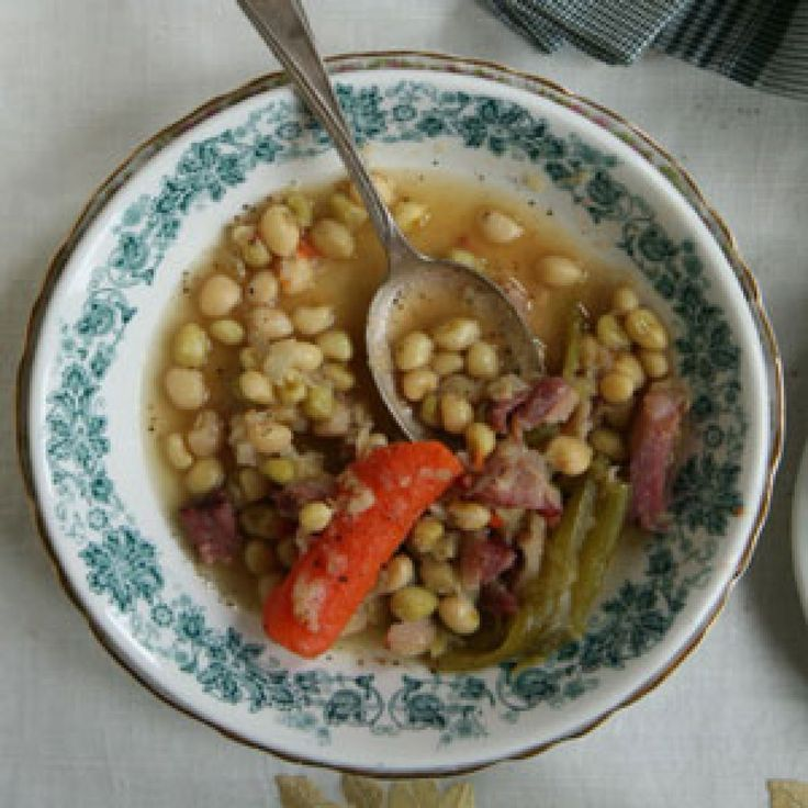Crowder peas -- can modify with peppers, adding more carrots, bayleaf, cumin, and vegetable stock.