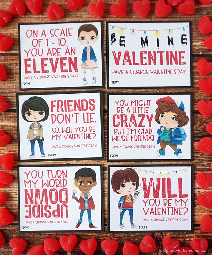 A Stranger Things Christmas.Free Printable Stranger Things Valentines Artsy Fartsy
