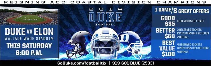 You can't lose with the good, better, best ticket deals for Duke Football's season opener against Elon! #GoDuke