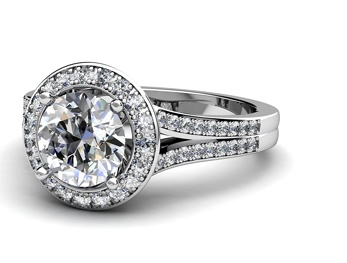 Incredibly detailed semi-mount diamond engagement ring in white gold by T & T Jewellers
