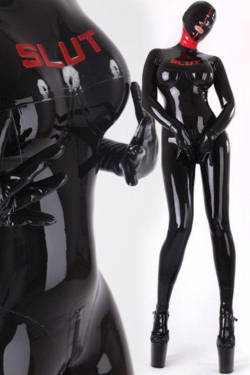 Bizarre Latex Catsuit With Slut Logo Become A Latex Slave