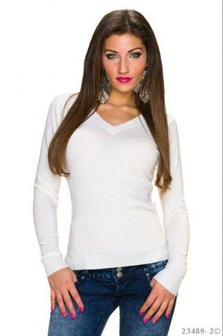 Μονόχρωμο πουλόβερ με V λαιμόκοψη - Ζαχαρί