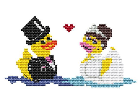 Wedding rubber ducks cross stitch