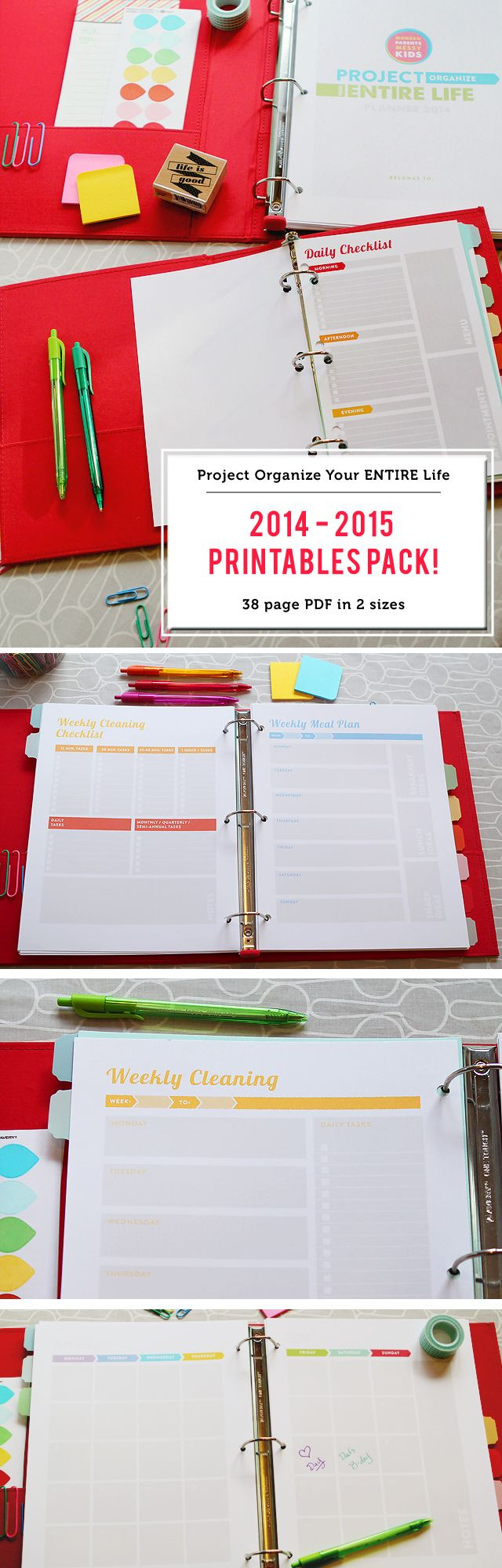 UPDATED FOR 2016!!! An 83 page PDF file with everything you need to keep yourself organized this year - meal planning sheets, cleaning schedules, daily/weekly/monthly calendars and lots more. I LOVE this system!