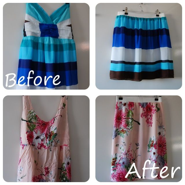 Refashioned dresses to summer skirts  Follow @trixiescraftco