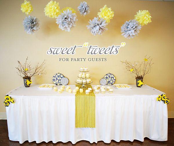 Yellow & Gray bird-inspired baby shower #baby #shower #decoration #tweet #bird #yellow #gray #grey